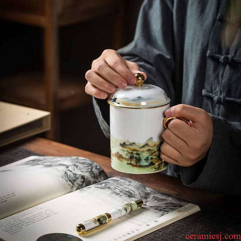 JingChen ceramic cups with cover glass, high - capacity paint glass palace restoring ancient ways of tea cups to office