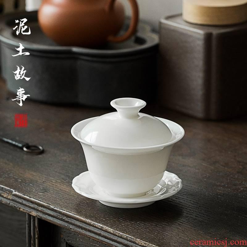 Suet jade jade white porcelain porcelain white trumpet tureen noggin home chaoshan kungfu tea set suit white mini
