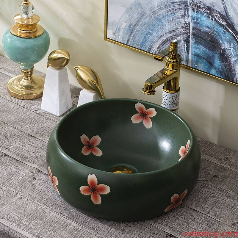 Art on the stage basin sink toilet contracted basin faucet restoring ancient ways suit household ceramic wash basin
