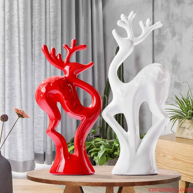 Constant porcelain beauty home wine rack porch sitting room the bedroom adornment red and white spotted deer ceramic home furnishing articles