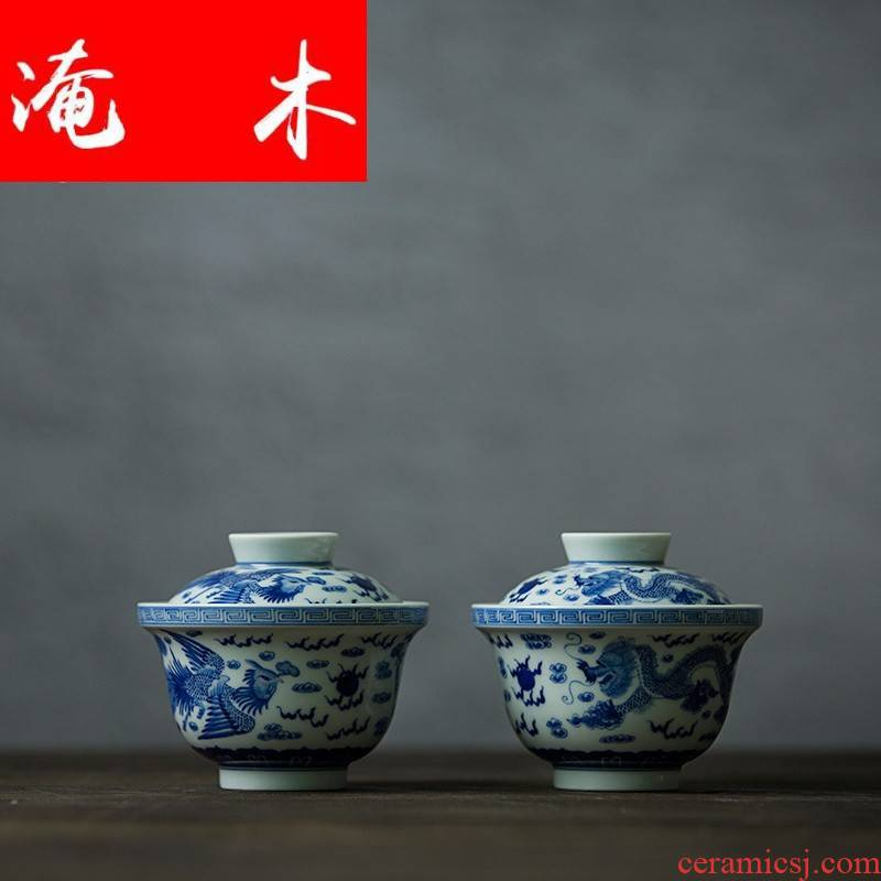 Submerged wood let jingdezhen blue and white tureen ceramic up large manual hand draw three bowl kung fu tea set