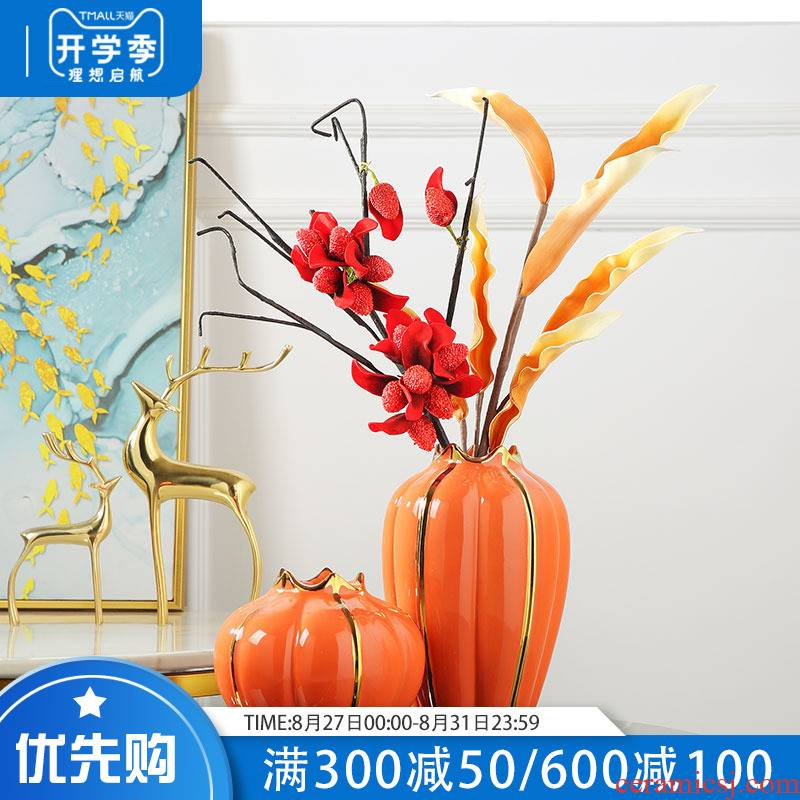 Jingdezhen light key-2 luxury ceramic vase furnishing articles sitting room TV wine table simulation dried flowers flower arrangement home decoration