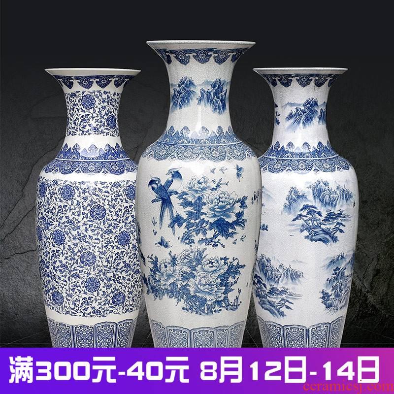 Jingdezhen ceramics archaize crack landing a large vase furnishing articles sitting room of Chinese style household decoration landscape around