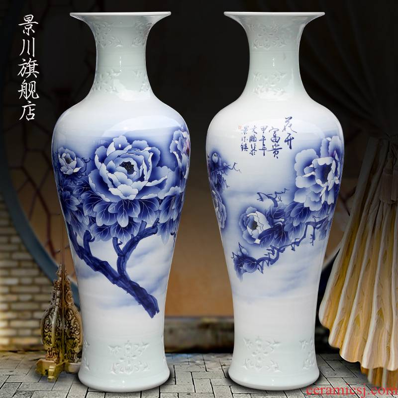 Jingdezhen porcelain ceramic blue and white peony blooming flowers, hand - made the sitting room of large vase household furnishing articles