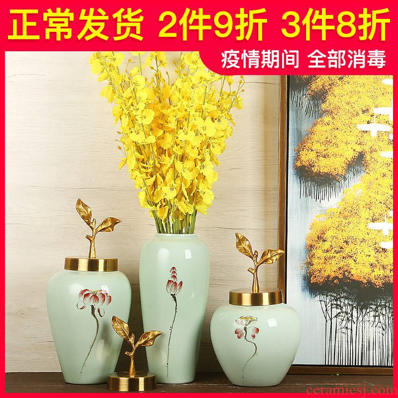 Jingdezhen ceramics craft vase, I and contracted the new Chinese style household dry flower arranging flowers sitting room adornment is placed
