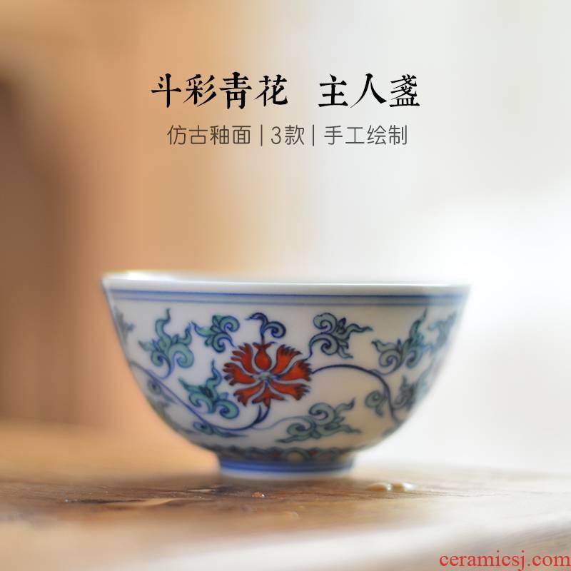24 device master cup tea hand blue and white porcelain of jingdezhen ceramics, kung fu tea cups sample tea cup single CPU
