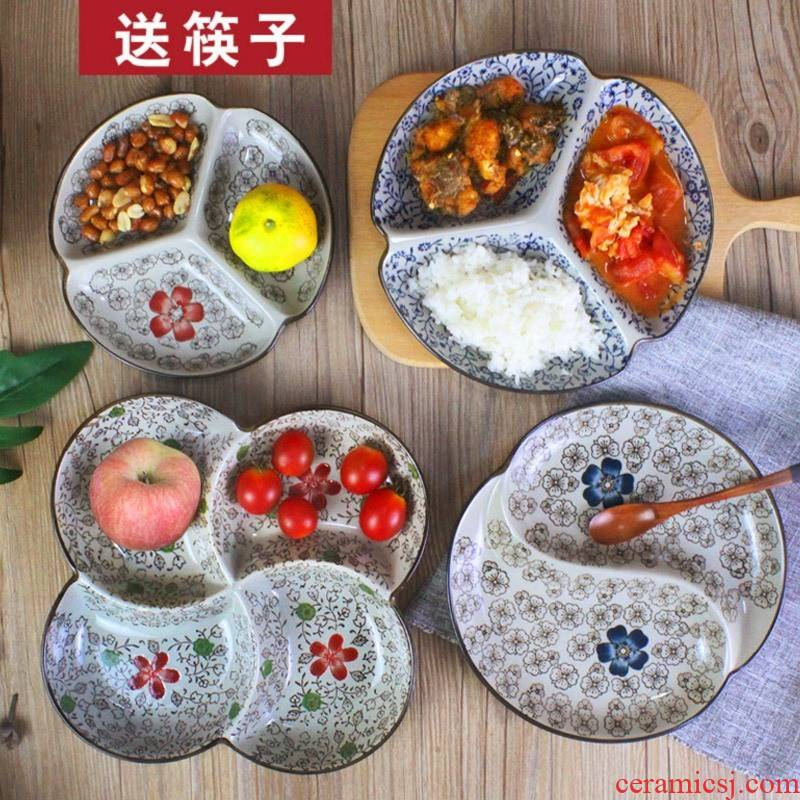 Yuanyang disc ceramic frame 0, the fast food dried fruit fruit bowl household adults two tray plates