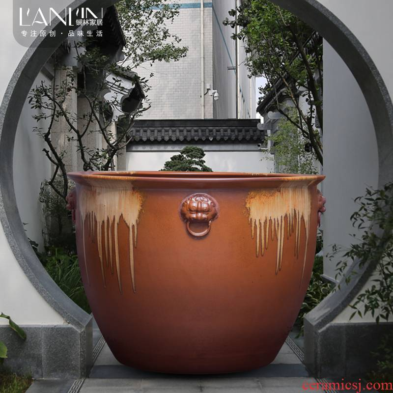 Basin of water lily flower pot courtyard fish is suing landscape cylinder lotus turtle king old flow of water and soil pottery vats