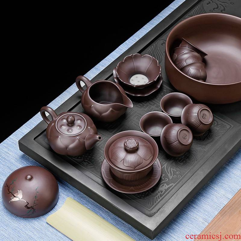 Yixing undressed ore violet arenaceous kung fu tea set 6 retro teapot household contracted tea cup office gift box