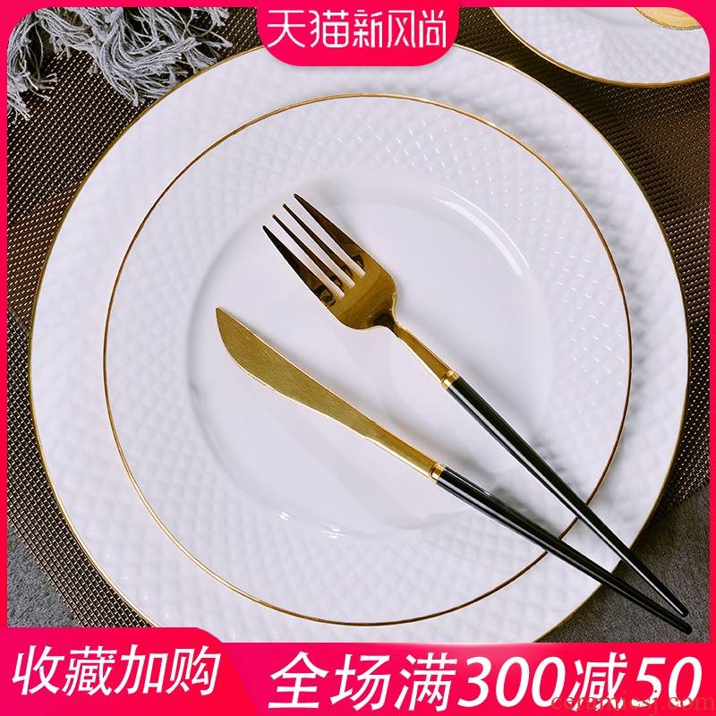 Steak dishes suit creative west European up phnom penh home ipads China plates plate round ceramic dish meals