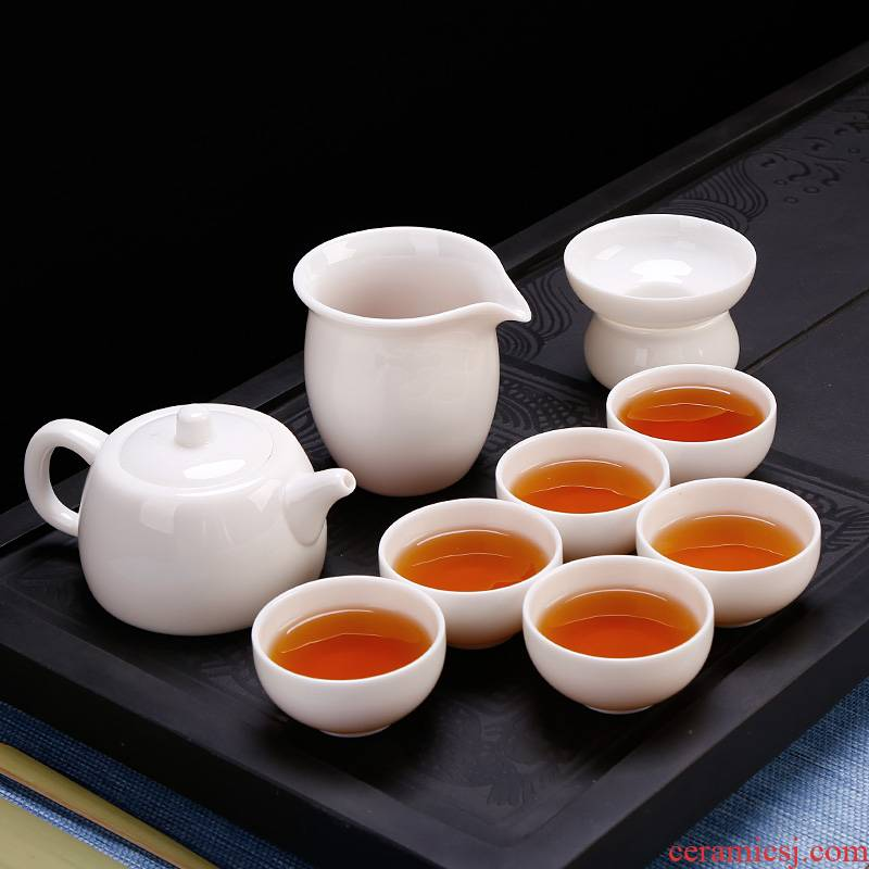 Dehua white porcelain kung fu tea cup set household pure jade white jade porcelain teapot ceramic office gift boxes