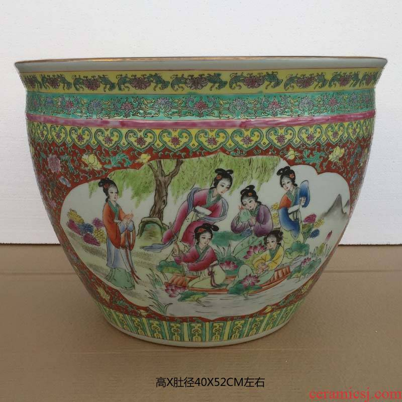 Hand made pastel ancient Chinese style classical beauty ladies China big crock deep cylinder sitting room furniture furnishing articles at home