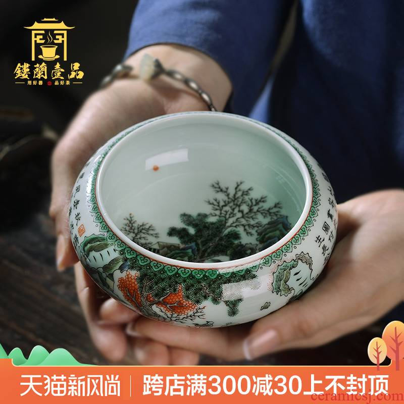 Jingdezhen ceramic hand - made ancient color huxi all three primer tea wash to wash water jar kung fu tea accessories tea taking with zero