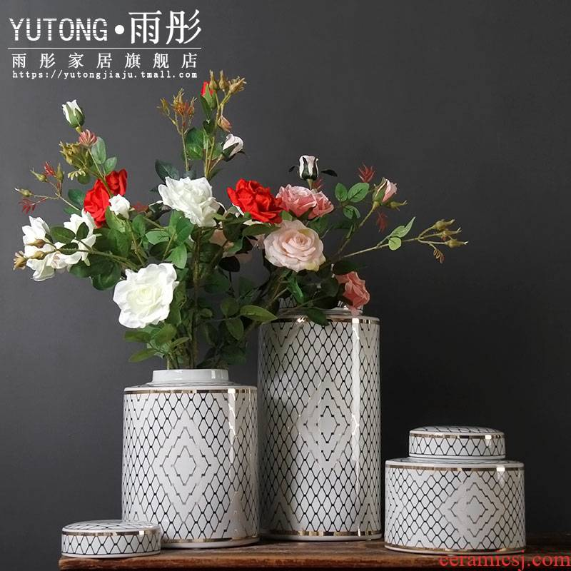 Gold - plated ceramic vase of blue and white porcelain ceramic household act the role ofing is tasted furnishing articles ceramic pot sitting room villa example room