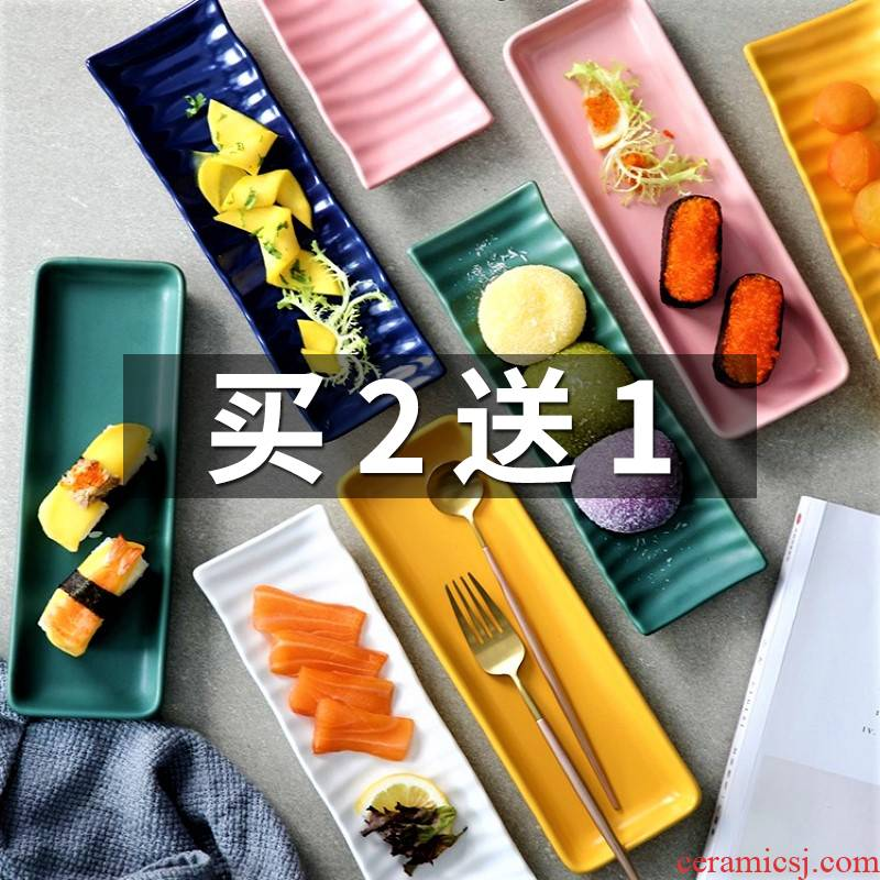 Nordic strip plate ceramic plate Japanese creative rectangle sushi plate breakfast of disk all the west tableware, household