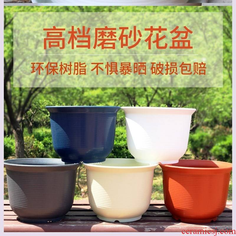 Flower box round ceramic new environmental protection resin Flower pot thickening ceramic Flower pot pot plastic more than meat