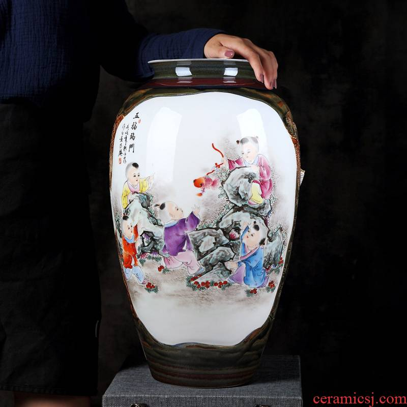 Jingdezhen hand - made archaize ceramic vase home sitting room adornment is placed manually famille rose porcelain arts and crafts