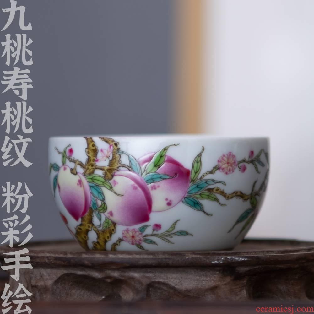 24 ware jingdezhen ceramic masters cup kung fu tea cups of tea tea light pastel painting pure manual