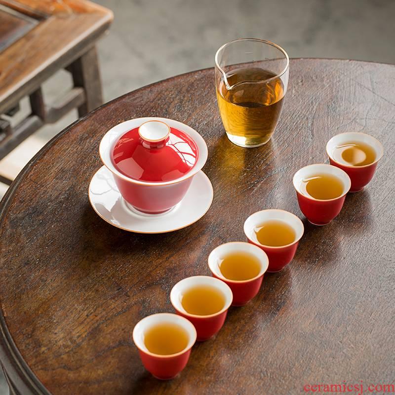 Earth story jingdezhen offering red tea set manual of a complete set of ji checking ceramic tureen kung fu tea set
