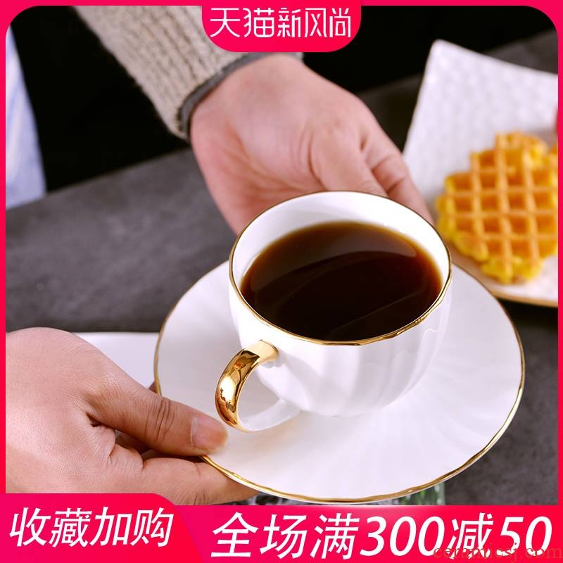 Jingdezhen creative manual gold 】 【 ipads China coffee cups and saucers suit ceramic coffee cup home European cup