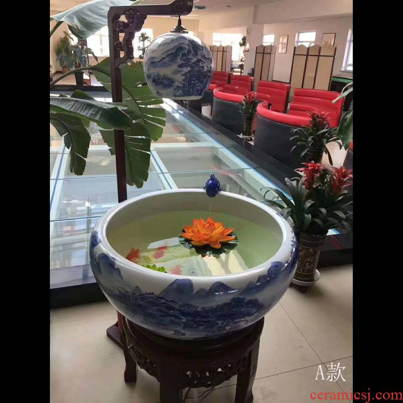 Jingdezhen blue and white peony the lantern fountain lettering and 55 cm65cm90cm humidifier tank in water