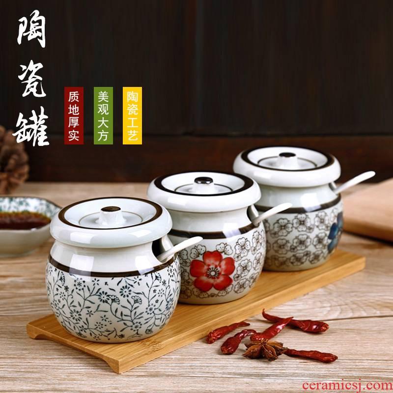 The kitchen seasoning salt pot individual household ceramic pot seasoning box of oil pot seasoning box sauce condiment bottles as cans