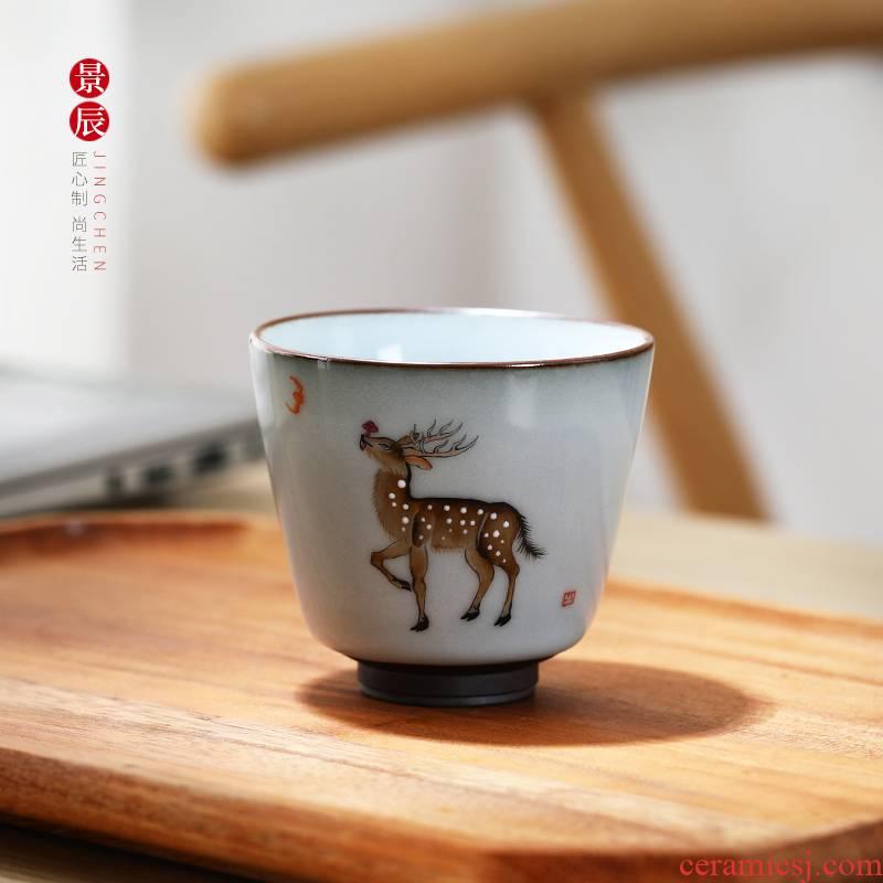 Jingdezhen ceramic hand - made sample tea cup cup meeting domestic tea cup kung fu pure manual creative teacups