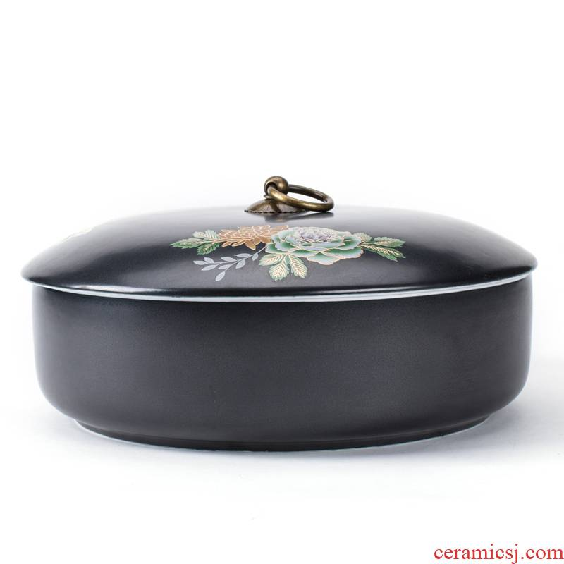 Shadow enjoy pu 'er tea of black box caddy fixings large - sized ceramic tea cake box wake tea pot with cover tea wash cup wash to PD