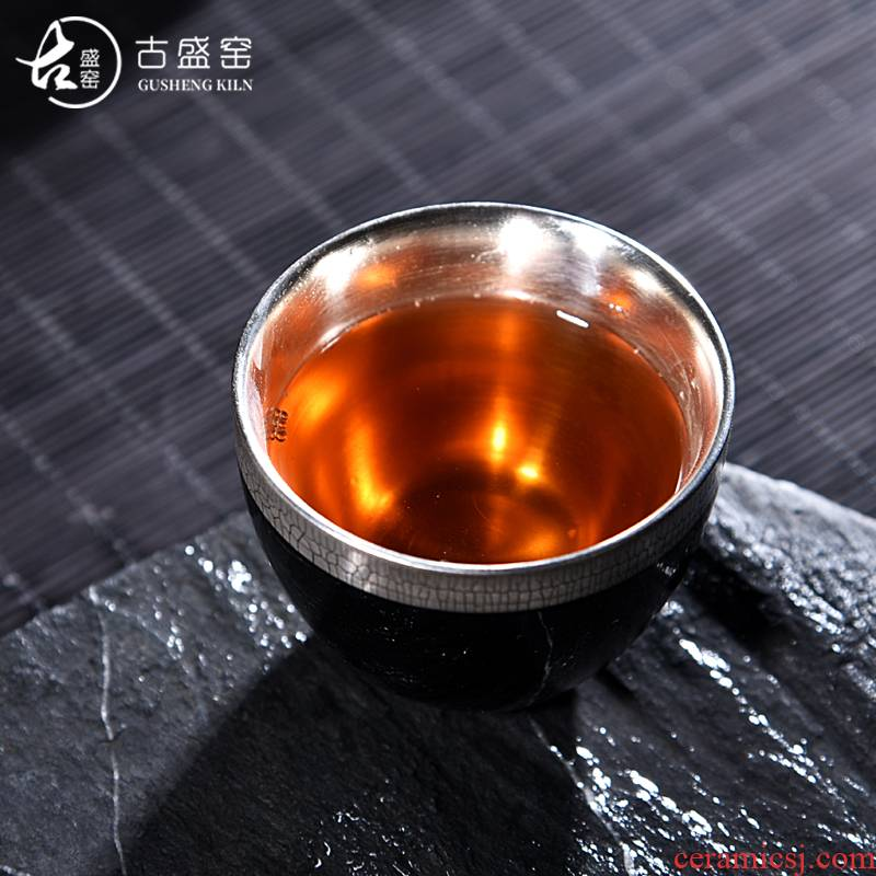 Ancient sheng ceramic up new egg cup silver cup tea coppering. As undressed ore, black jade bowl silver master cup of tea
