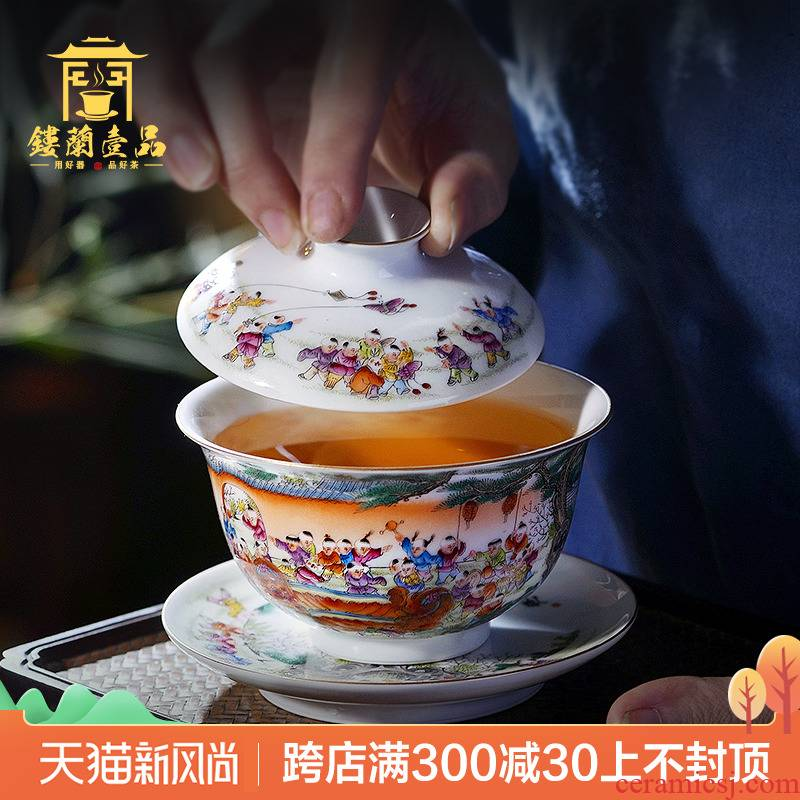 Jingdezhen ceramic all hand pastel figure 3 the ancient philosophers to make tea tureen large bowl of kung fu tea set tea cups