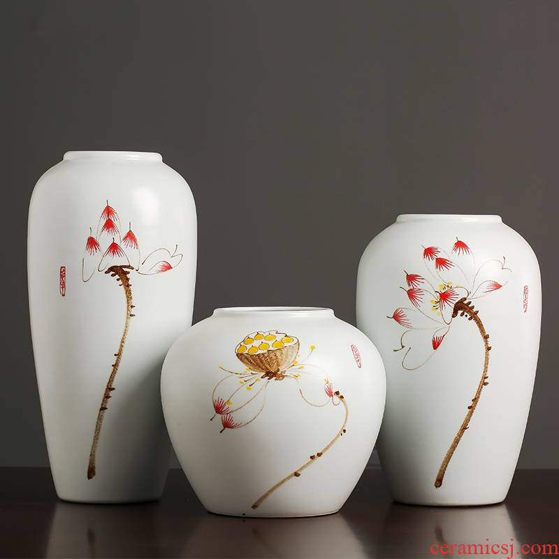 Jingdezhen ceramics hand - made vases, I and contracted sitting room of Chinese style household flower arranging TV ark adornment furnishing articles