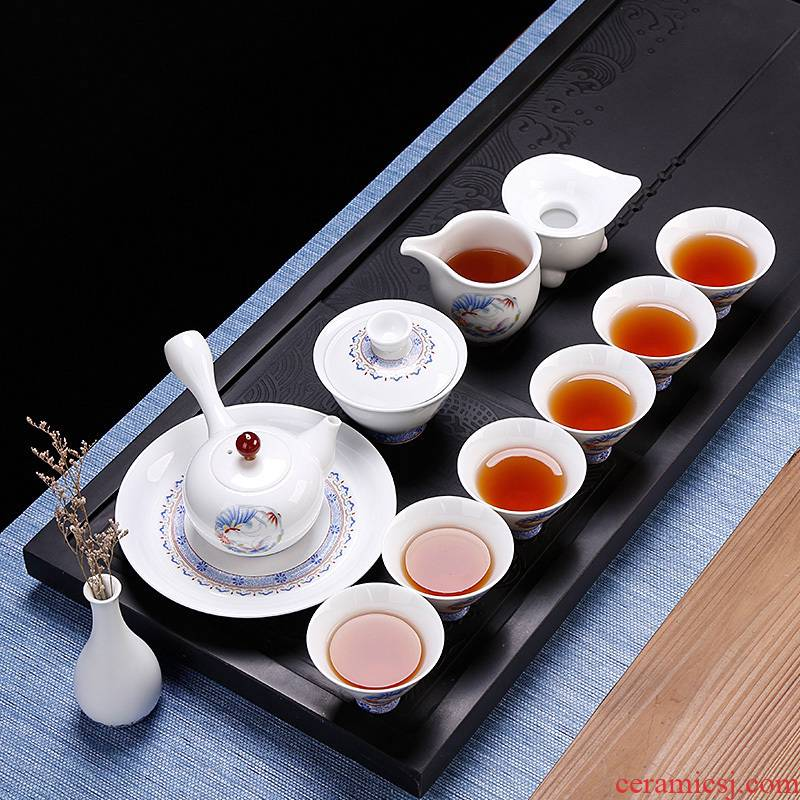 Ceramic kung fu tea sets a full set of hand - made decals small and pure and fresh box side put the pot of the six people with contracted style