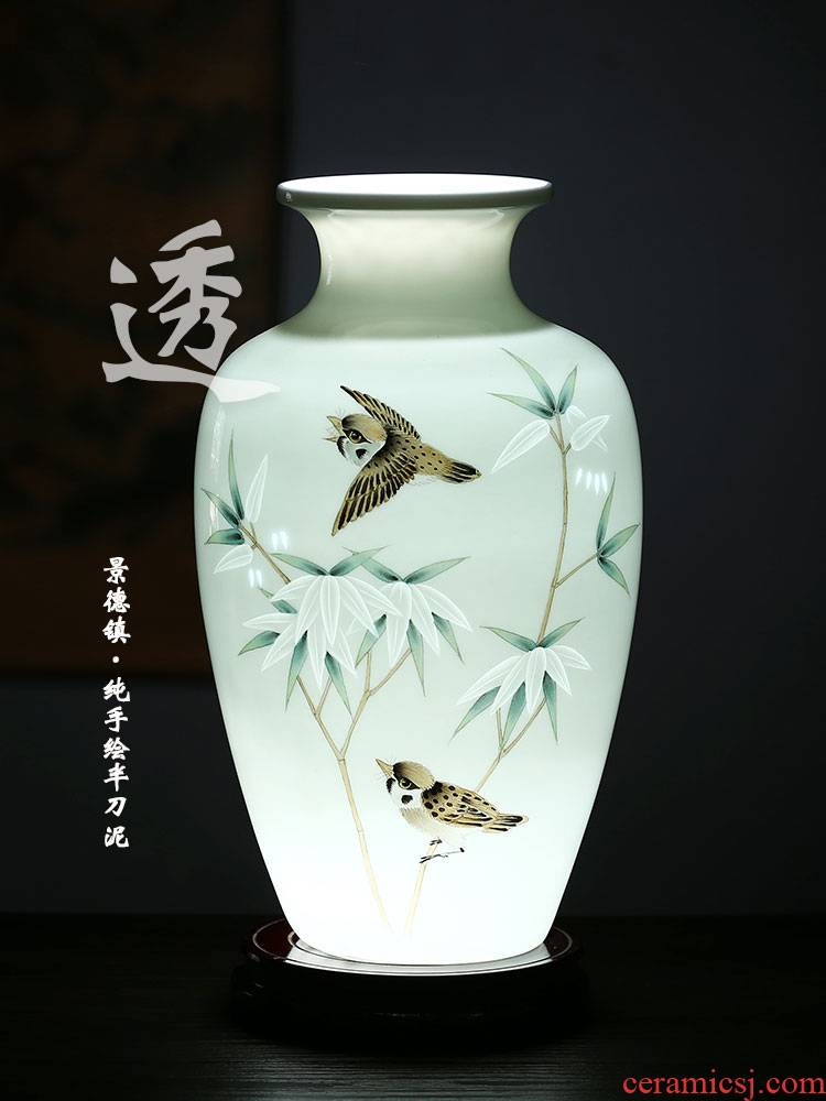 Jingdezhen ceramics hand - made thin foetus carving knife clay and exquisite vase Chinese flower arranging sitting room adornment is placed