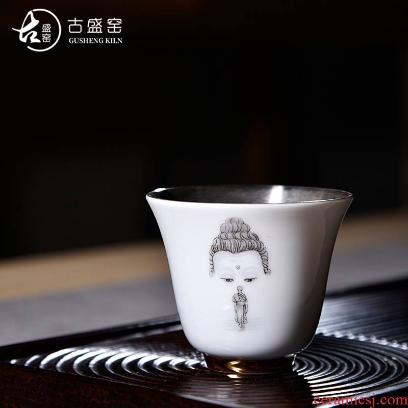 Ancient sheng up new gift boxes tasted silver gilding suet jade porcelain SAN fermin small sample tea cup masters cup single fullness
