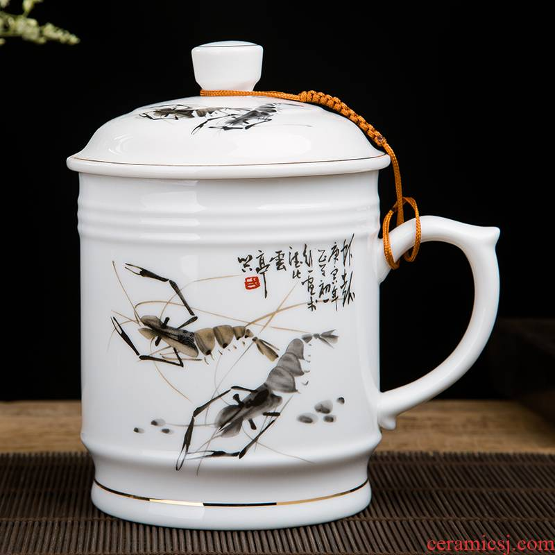 Jingdezhen ceramic cups with cover large size with the handle male boss cup office cup and cup big porcelain cups