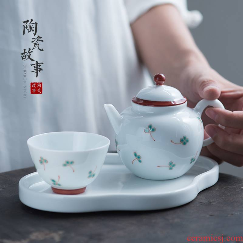 Pure hand - made ceramic story lucky grass series lid bowl of tea powder enamel manual small Pure and fresh and ceramic tea set