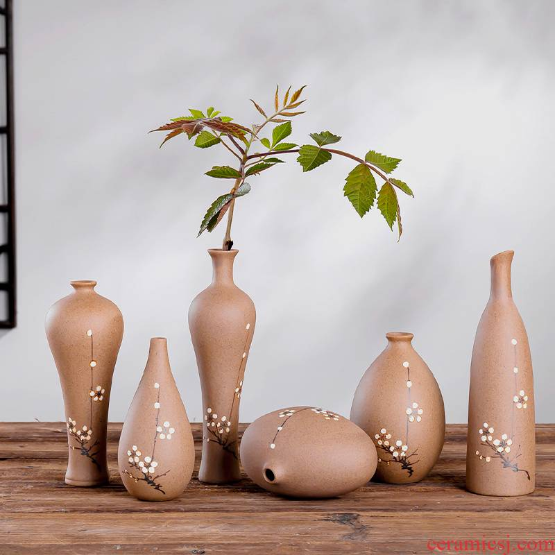 Ceramic zen floret bottle tea house furnishing articles of new Chinese style restoring ancient ways, billet hand - made flowers, decorative flower tea taking furnishing articles