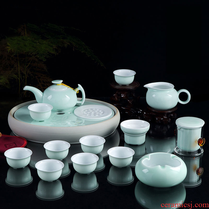 Jingdezhen tea set ceramic kunfu tea tea tea tray of a complete set of celadon teapot teacup of a complete set of many people