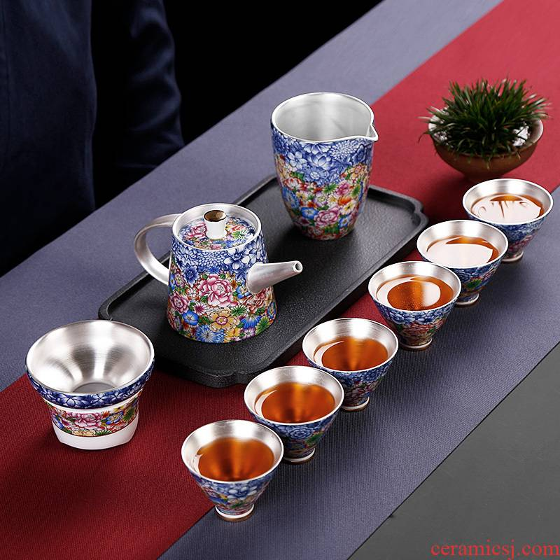 Kung fu tea tasted silver gilding silver suit household teapot teacup ceramic office to receive a visitor the high - end Chinese gift boxes