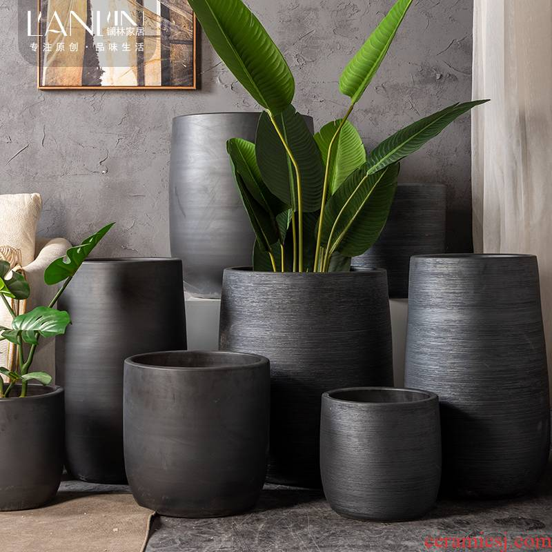 Nordic jingdezhen ceramic big flowerpot furnishing articles I and contracted sitting room green plant flower adornment black floor vase
