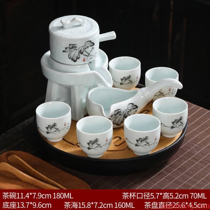 Lazy stone mill tea set ceramic violet arenaceous household kung fu suit all semi - automatic hot tea cups creative tea POTS