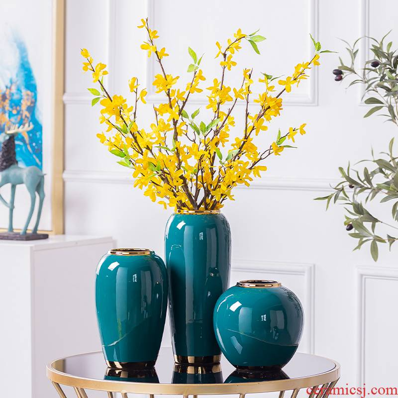 New Chinese style mesa European table vase dried flower simulation flowers adorn article modern TV cabinet ceramic furnishing articles sitting room