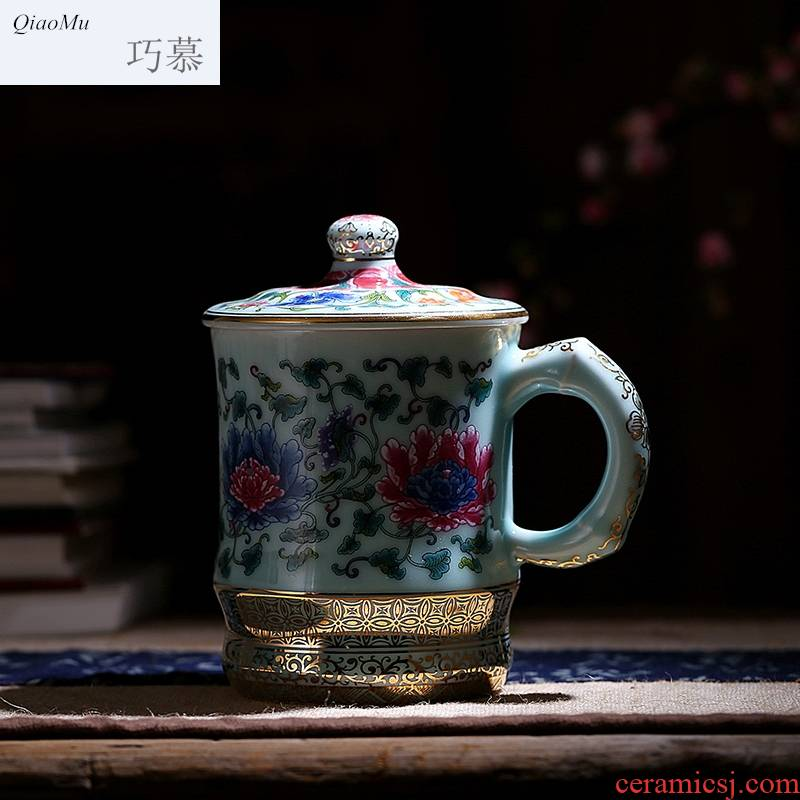 Qiao mu hand paint longquan celadon teacup tea cups office keller cup cup with cover cups