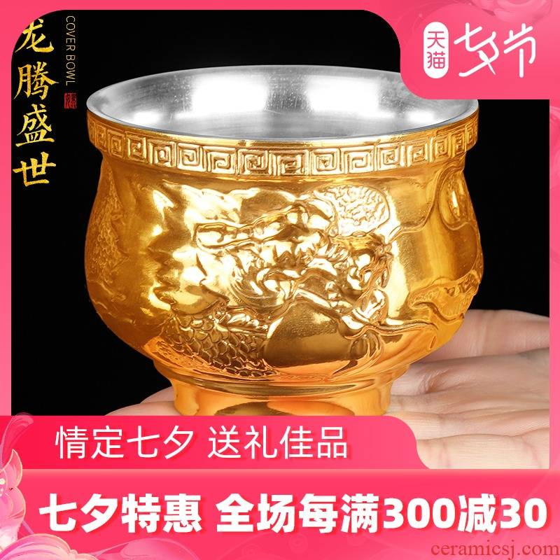 Artisan fairy gold silver kung fu masters cup cup pure checking ceramic cups cup of office tea cup sample tea cup