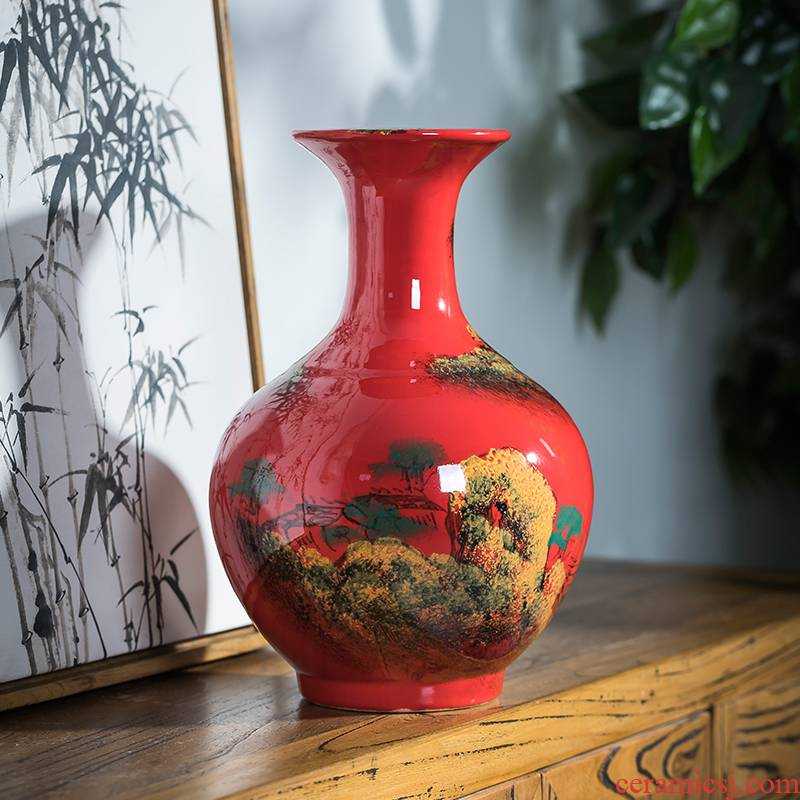 Jingdezhen ceramics hand draw freehand brushwork in traditional Chinese red porcelain vases, flower arrangement sitting room adornment of Chinese style household furnishing articles