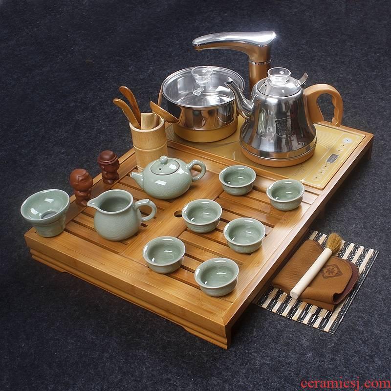 Ceramic kung fu tea tea tray with kettle automatically a whole household small bamboo bamboo tea tea set