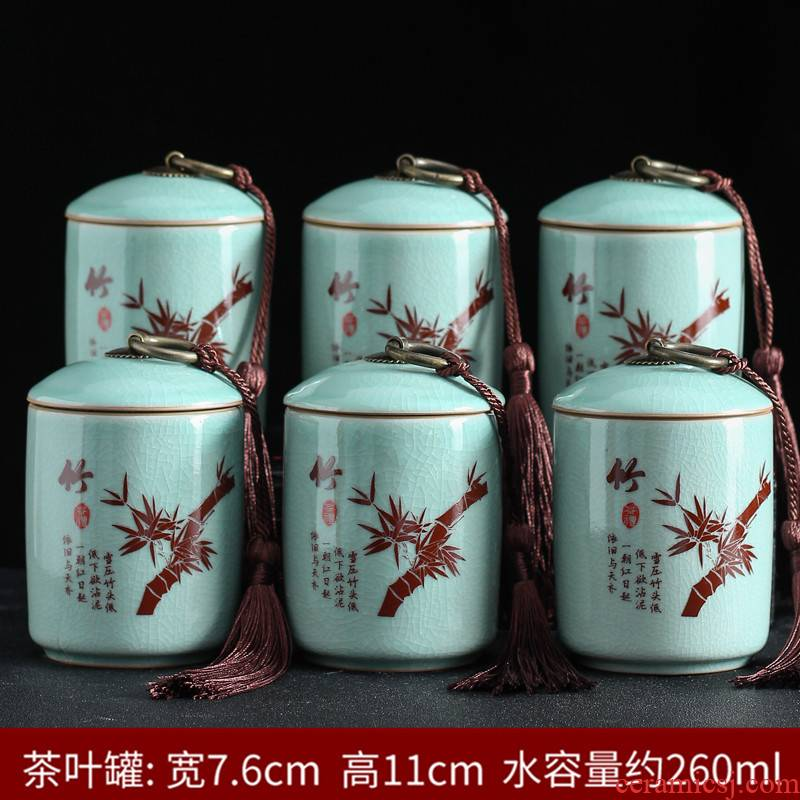 Elder brother up with ceramic POTS small caddy fixings pu 'er tea tea caddy fixings household seal storage tanks moistureproof the custom