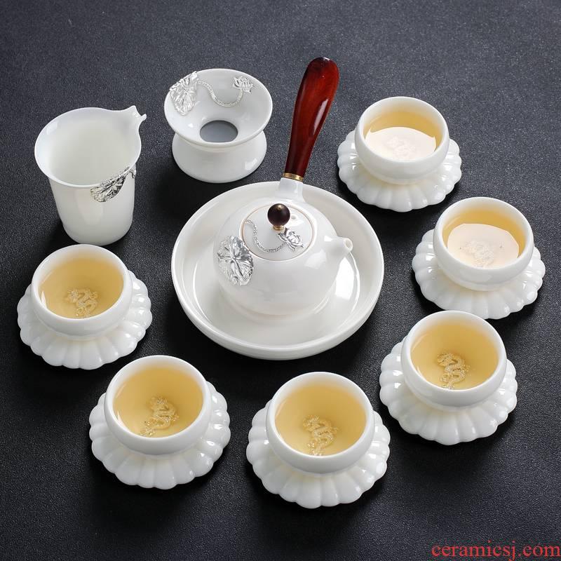 Jingdezhen suet jade white porcelain kung fu tea set of household ceramic cups teapot small set of living room office