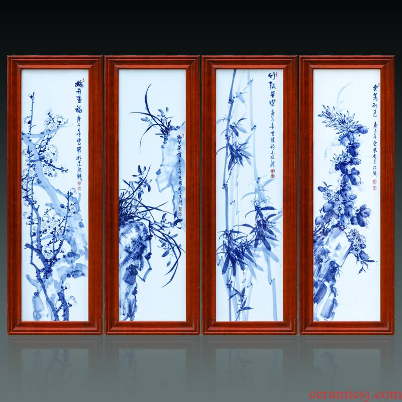 Jingdezhen ceramics by hand antique landscape of blue and white porcelain porcelain plate paintings of Chinese style sitting room background wall decoration