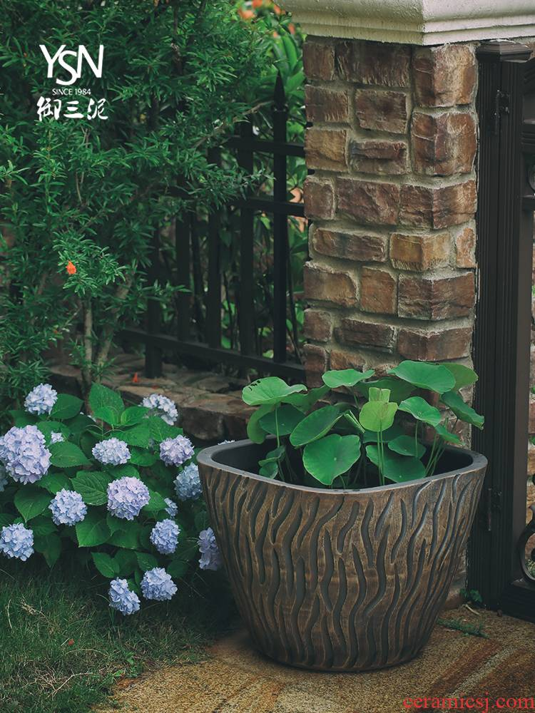 Royal three mud tank archaize flowerpot tank floor furnishing articles courtyard garden ceramics is increasing in cylinder bed balcony decoration